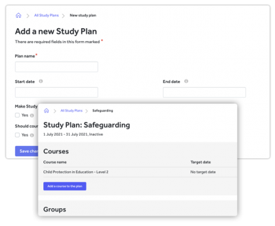 Develop study plan screenshot